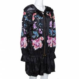 Roberto Cavalli Black Synthetic Floral Printed Hooded Dress M 281465
