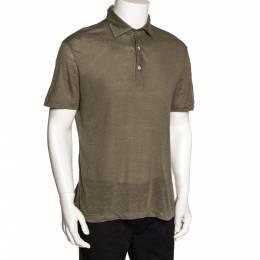 Loro Piana Sage Green Linen Knit Polo T Shirt L