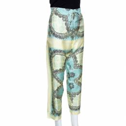 Valentino Turquoise and Yellow Printed Silk Pajama Pants L 280827