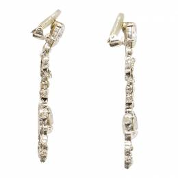 Oscar De La Renta Bow Drop Crystal Silver Tone Clip-On Drop Earrings 281570