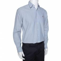 Ralph Lauren Light Blue Striped Cotton Custom Fit Shirt M