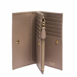 Prada Beige Leather Snap Continental Wallet 282268