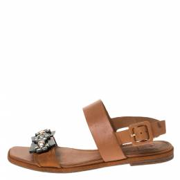 Tory Burch Brown Leather Crystal Embellished Slingback Flat Sandals Size 36.5