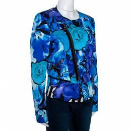 Roberto Cavalli Blue Floral Printed Cotton Peplum Detail Jacket L
