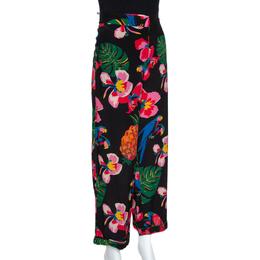 Valentino Multicolor Silk Tropical Print Wide Leg Pants S 280811