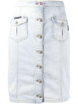 Philipp Plein джинсовая юбка на пуговицах S20CWDV0092PDE004N