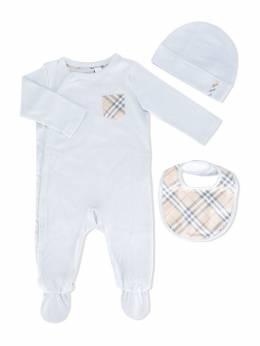 Burberry Kids набор для новорожденного с отделкой в клетку 3999465