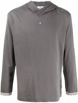 Stone Island свитер с капюшоном и манжетами в полоску MO721521558