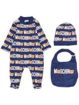 Moschino Kids комплект из ромпера, шапки и нагрудника MUY021LBB17