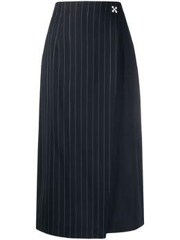 Off-White юбка асимметричного кроя в тонкую полоску OWCC093S20FAB0014500