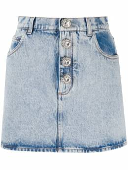 Alessandra Rich джинсовая юбка с кристаллами FAB2056F2794