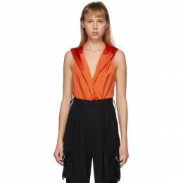Balmain Orange Hooded Bodysuit TF00960X372