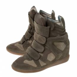 Isabel Marant Olive Green Suede And Leather Trim Bekett Wedge Sneakers Size 37