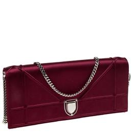 Dior Burgundy Satin Diorama Chain Clutch