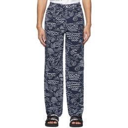 Kenzo Indigo Linen Wave Mermaid Jeans FA55PA5811SC