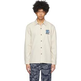 Kenzo Off-White Denim Embroidered Logo Shirt FA55CH6112EF