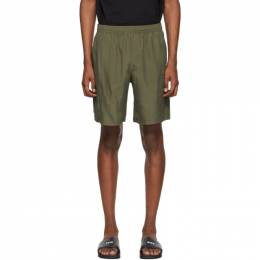 MSGM Khaki Silk Iridescent Shorts 2840MB02C 207012