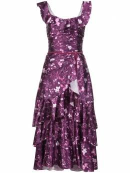 Marchesa Notte длинное платье с оборками и цветочным принтом N37C1151