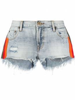 One Teaspoon Montana stripe detail denim shorts 23223