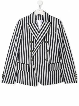Balmain Kids TEEN striped double-breasted blazer 6M2537MB880