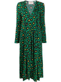 La Doublej платье Trapezio с леопардовым и цветочным принтом DRE0127VIS001