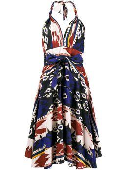 Forte_Forte платье с абстрактным принтом и вырезом халтер 7306MYDRESS