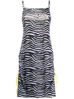 Staud платье-комбинация с зебровым принтом 1477261