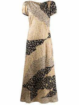 Rixo платье с леопардовым принтом в технике пэчворк RIX10428120661