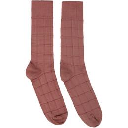 Issey Miyake Men Pink Block Socks ME06AI005