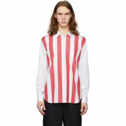 Comme Des Garcons Homme Plus White and Red Broad Stripe Shirt PE-B002-051