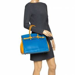 Hermes Blue Hydra/Jaune d'Or Clemence Leather Special Order Birkin 35 Bag 282346