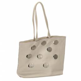Prada White Leather Tote Bag
