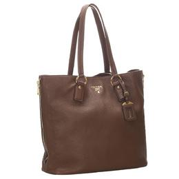 Prada Brown Vitello Daino Leather Tote Bag