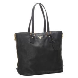 Prada Black Vitello Daino Leather Tote Bag