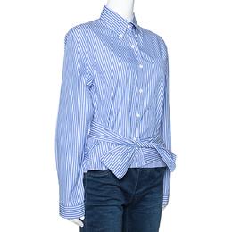 Prada Blue Striped Cotton Wrap Front Tie Detail Shirt S