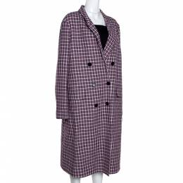Burberry Burgundy Plaid Check Cotton Double Breasted Coat L 282394