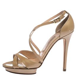 Gina Beige Patent Leather Strappy Platform Sandals Size 38 282388