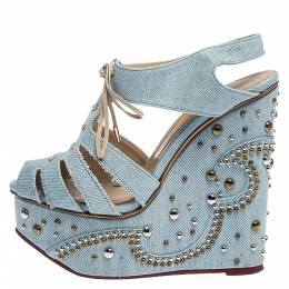 Charlotte Olympia Blue Denim Studded Cut Out Wedge Platform Sandals Size 37 282535