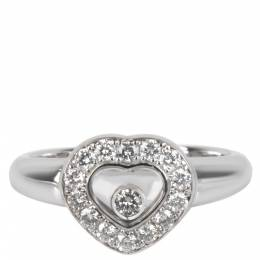 Chopard Happy Diamonds Heart 0.33 CTW 18K White Gold Ring Size 49 282444