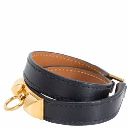 Hermes Kelly Rivale Double Tour Wrap Gold Hardware Bracelet