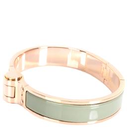 Hermes Sea Foam Green Hinged Rose Gold Plated Narrow Bracelet 282462