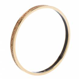 Ch Carolina Herrera Logo Enamel Gold Tone Narrow Bangle Bracelet