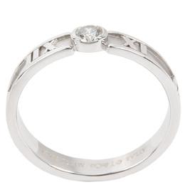 Tiffany & Co. Atlas 0.12 CTW Diamond 18K White Gold Band Ring Size 54 282473