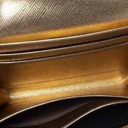 Prada Metallic Gold Saffiano Lux Leather Wristlet Compact Wallet