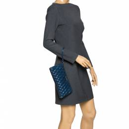 Miu Miu Blue Diamond Quilted Leather Zip Wristlet Clutch 282249