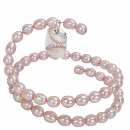 Tiffany & Co. Elsa Peretti Spiral Pink Pearl Sterling Silver Bracelet