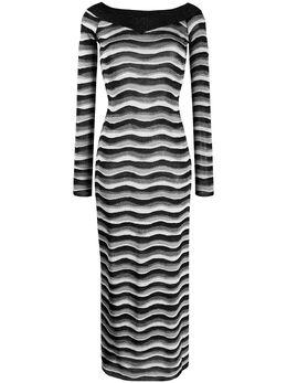 Emilio Pucci платье в полоску с эффектом металлик 0EKI300E967