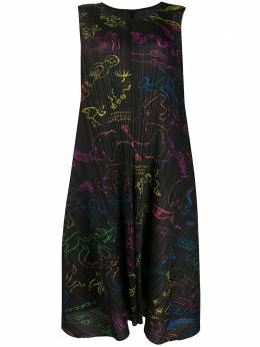 Pleats Please Issey Miyake плиссированное платье миди с принтом PP98JH716