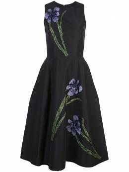 Carolina Herrera платье с цветочной вышивкой F1911E527SFA