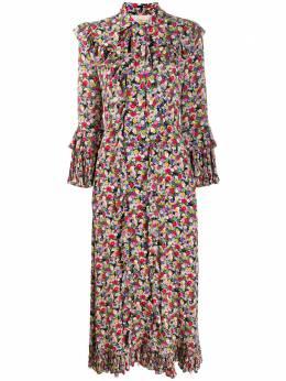 La Doublej платье макси с оборками DRE0097SIL001GRA0001